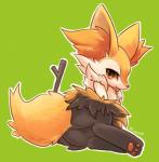 ambiguous_gender anthro blush braixen butt canine cute fox fur inner_ear_fluff looking_at_viewer lying mammal nintendo plain_background pokémon rag._(artist) red_eyes solo stick tongue video_games yellow_fur   Rating: Safe  Score: 34  User: BlueF  Date: April 23, 2015