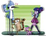 2015 avian barking bird canine cartoon_network clothing collar dog equestria_girls eyewear female glasses group human mammal mordecai_(regular_show) my_little_pony purple_skin raccoon regular_show rigby_(regular_show) scared spike_(eg) the-butcher-x twilight_sparkle_(eg)  Rating: Safe Score: 3 User: 2DUK Date: July 09, 2015