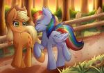 2018 absurd_res applejack_(mlp) blonde_hair blue_feathers blush cowboy_hat cute cutie_mark detailed_background duo earth_pony equine eyebrows eyelashes eyes_closed feathered_wings feathers female fence feral forest freckles friendship_is_magic grass green_eyes hair hair_tie hat hi_res hooves horse mammal multicolored_hair mushroom my_little_pony nana-yuka nude outside pegasus plant pony rainbow_dash_(mlp) rainbow_hair raised_leg road shadow shrub smile sunset tree walking watermark wingsRating: SafeScore: 10User: GlimGlamDate: July 05, 2018