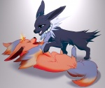 ambiguous_gender angiewolf black_nose blue_eyes duo eeveelution feral flareon fur jolteon nintendo open_mouth pokémon red_fur simple_background smile teeth video_gamesRating: SafeScore: 4User: MillcoreDate: March 21, 2017