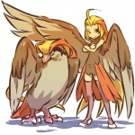 alternate_species avian beak blonde_hair clothing cosplay duo feathered_wings feathers female feral hair hitec human humanized legwear long_hair mammal nintendo pidgeot pokémon stockings tail_feathers video_games wings