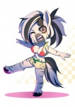 2016 anthro bakki breasts chibi cleavage clothed clothing equine fan_character female mammal my_little_pony one_eye_closed shorts solo wink zebra  Rating: Safe Score: 7 User: 2DUK Date: April 07, 2016