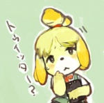 animal_crossing anthro black_nose blonde_hair canine clothing dog female fur hair hair_ornament huni isabelle_(animal_crossing) japanese_text mammal nintendo short_hair solo text uniform video_games white_fur yellow_fur  Rating: Safe Score: 2 User: Cαnε751 Date: November 09, 2015