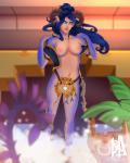 4:5 animal_humanoid areola blizzard_entertainment blood_elf blue_eyes blue_hair blue_scales blurred_background breasts clothed clothing collarbone convenient_censorship dragon dragon_humanoid elf facial_piercing female full-length_portrait hair hi_res horn humanoid lip_piercing looking_at_viewer mischiart navel nipples partially_clothed piercing pink_areola pink_nipples portrait scales solo standing tan_lips undressing video_games warcraft zyrigosa
