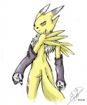 2008 anthro blue_eyes bridal_gauntlets canine chest_tuft digimon emeraldsora female fox fur looking_back mammal nude renamon simple_background solo standing tuft white_background white_fur yellow_fur  Rating: Safe Score: 0 User: RenaKunisaki Date: August 19, 2012
