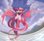 ambiguous_gender anthro armwear blue_eyes clothing detailed_background dragon elbow_gloves fish flying gloves hair happy horn looking_at_viewer mako_(rudragon) marine pink_hair purple_hair ru_(rudragon) rudragon shark water wings yellow_sclera