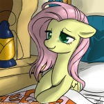 2011 bed bed_sheet bedding cute equine feathered_wings feathers female feral fluttershy_(mlp) friendship_is_magic green_eyes hair john_joseco lantern long_hair mammal my_little_pony pegasus pillow pink_hair smile solo wings yellow_feathers