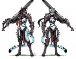 anthro armor breasts feline female fur luigiix mammal melee_weapon solo standing sword tiger warrior weapon  Rating: Safe Score: 10 User: snowblind Date: December 25, 2015