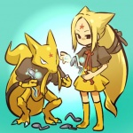 alternate_species blonde_hair clothing cosplay duo female hair hitec holding_object holding_spoon human humanized kadabra long_hair looking_at_viewer mammal nintendo pokémon ponytail psychic skirt spoon standing video_games