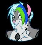 """alpha_channel anthro blue_hair cat feline freeze-pop88 fur green_eyes green_hair grey_fur hair leopard male mammal snow_leopard solo  Rating: Safe Score: 1 User: Freeze-pop88 Date: June 25, 2015"""""""