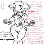 2015 anthro anthrofied black_and_white braided_hair breasts buckteeth cervine clexyoshi collar dialogue english_text fall_of_equestria fan_character female hair hi_res horn mammal monochrome my_little_pony nude pigtails pussy reindeer slave solo text   Rating: Explicit  Score: 4  User: 2DUK  Date: March 07, 2015