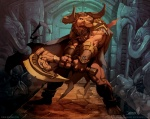 abs amazing anthro armor axe biceps bovine bracelet brown_fur cape cattle clothing cuffs el-grimlock fur horn jewelry loincloth male mammal minotaur muscles pecs pose solo standing underwear weapon   Rating: Safe  Score: 14  User: Robinebra  Date: October 21, 2012