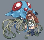 animal_humanoid blush breasts brown_hair canine clothing duo female fox fox_humanoid hair humanoid kneeling legwear mammal nintendo pokémon pokémon_(species) ringo78 school_swimsuit small_breasts swimsuit tentacles tentacruel thigh_highs video_games