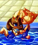 anthro blue_eyes blush brown_fur canine clothing duo female fur g lagomorph lopunny lucario mammal nintendo pokémon red_eyes shiny_pokémon shy swimming_pool swimsuit video_games yellow_fur  Rating: Safe Score: 6 User: HectorVonDoom Date: November 11, 2015
