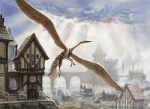 ambiguous_gender architecture avian beak city cityscape cloud feathered_wings feral flying gryff gryphon high-angle_shot john_severin_brassell magic_the_gathering official_art quadruped solo wings   Rating: Safe  Score: 4  User: Circeus  Date: February 25, 2015