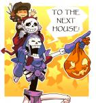 animated_skeleton bag bone clothing cosplay costume dialogue freddy_krueger group halloween holidays human jack_o'_lantern male mammal papyrus_(undertale) protagonist_(undertale) pumpkin sans_(undertale) skeleton skeletor spectrumtonic undead undertale video_games young  Rating: Safe Score: 35 User: Burgerpants Date: November 05, 2015