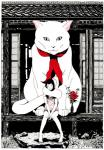 barefoot black_and_white black_hair blush building cat dress duo feline female feral flower fur giant hair human japan japanese looking_at_viewer mammal monochrome plant restricted_palette scarf size_difference slit_pupils spot_color surreal white_fur yusuke_nakamura   Rating: Safe  Score: 4  User: Conker  Date: September 12, 2013