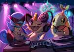 2014 ambiguous_gender disco_ball eyewear feral group headphones meowth nintendo pokémon rave spotlight squirtle sunglasses turntable_(decks) turtwig tyma video_games