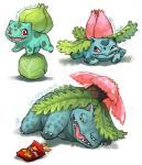 2007 ambiguous_gender bulbasaur cabbage chips_(food) claws emlan fangs feral flora_fauna flower food green_body group ivysaur lying nintendo on_front open_mouth pink_eyes plant pokémon simple_background venusaur video_games white_background  Rating: Safe Score: 8 User: Granberia Date: September 17, 2014