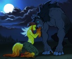 airu bandanna blue_eyes canine caress claws clothed clothing couple duo eyebrow_piercing eyes_closed facial_piercing female half-dressed kneeling male mammal moon night outside piercing topless were werewolf wolf   Rating: Safe  Score: 13  User: Kaik  Date: February 11, 2013