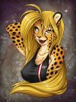 2014 amber_eyes blonde_hair breasts cheetah clothed clothing feline female fluff-kevlar hair looking_at_viewer mammal mihari n7 skimpy smile solo space spots   Rating: Safe  Score: 37  User: Artinis  Date: April 18, 2014