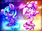 2015 9de-light6 abstract_background blue_eyes blue_fur blue_hair blush chibi duo equine feathered_wings feathers female feral friendship_is_magic fur hair hi_res horn looking_at_viewer mammal my_little_pony pink_hair princess_celestia_(mlp) princess_luna_(mlp) purple_eyes smile star white_feathers white_fur winged_unicorn wings  Rating: Safe Score: 3 User: ConsciousDonkey Date: January 21, 2016