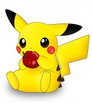 :3 ambiguous_gender apple cute eating fruit nintendo pikachu pokémon red_cheeks silverheart4 stripes video_games   Rating: Safe  Score: 6  User: Scakk  Date: February 19, 2014