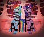 2015 angry ball_gag bdsm blue_feathers blue_fur blush bondage bound chair cutie_mark duo equine feathers female friendship_is_magic fur gag glowing hair horn inside levitation library magic mammal multicolored_hair my_little_pony pegasus purple_eyes purple_hair radiantrealm rainbow_dash_(mlp) rainbow_fur rainbow_hair sitting sparkles twilight_sparkle_(mlp) two_tone_hair unicorn wings  Rating: Safe Score: 9 User: 2DUK Date: September 06, 2015