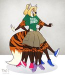 2018 4_arms 9_legs anthro bisexual_pride_colors blonde_hair blue_eyes canid canine eyewear fan_character felid female fox glasses hair hybrid lgbt_pride mammal may_abbagail multi_arm multi_leg multi_limb novelty_clothing pac pantherine pride_colors simple_background solo tiger