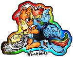 animated applejack_(mlp) blonde_hair blush cheek_kiss clothing cutie_mark dress equine female female/female flower friendship_is_magic hair hat horse iroxykun kissing male mammal multicolored_hair my_little_pony necklace necktie pegasus plant pony rainbow_dash_(mlp) rainbow_hair smile suit tears text translucent wedding_dress wings  Rating: Safe Score: 8 User: iRoxykun Date: June 26, 2015""