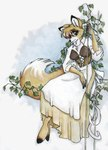 anthro apron beige_bottomwear brown_eyes brown_topwear canine clothing cloven_hooves corset dress female fluffy_tail fox fur hair_over_eyes hooves ivy lacing mammal plain_background shirt sitting solo tracy_j_butler traditional_media_(artwork) watercolor_(artwork) white_bottomwear white_dress white_topwear   Rating: Safe  Score: 3  User: The Dog In Your Guitar  Date: March 01, 2007