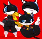 anthro bandanna big_butt black_fur blue_eyes butt cat clothing eyelashes feline female fur looking_at_viewer mammal megami_tensei morgana_(persona) open_mouth persona persona_5 pouch red_background simple_background smile solo sssonic2 standing video_games white_fur wide_hips  Rating: Questionable Score: 13 User: BlueF Date: October 16, 2015