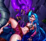 2016 absurd_res areola blue_hair bra breasts claws clothed clothing fangs female fingerless_gloves gloves hair hi_res human jinx_(lol) league_of_legends long_hair mammal monster navel nipples orange_eyes pink_eyes pointy_ears purple_hair saliva shorts signhereplease spikes teeth thick_thighs tongue tongue_out underwear video_games yellow_eyes  Rating: Questionable Score: 0 User: Fur_in_the_dark Date: July 30, 2016