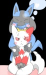 <3 ambiguous_gender anthro blue_fur blush canine claws duo eyes_closed fur lucario mammal nintendo pokémon red_eyes spikes tongue unknown_artist video_games zangoose  Rating: Safe Score: 5 User: Goldenbanana1231 Date: October 08, 2015