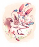 ambiguous_gender blue_eyes brown_fur canine chest_tuft cute duo eevee eeveelution eyes_closed fur looking_at_viewer lying mammal nintendo on_back on_top open_mouth pawpads paws pink_fur plain_background pokémon size_difference sylveon tuft unknown_artist video_games white_background white_fur   Rating: Safe  Score: 4  User: Hydr0  Date: February 28, 2015