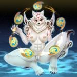 2017 abs amaterasu anthro anthrofied areola athletic beads black_nose breasts canine capcom claws deity female fur hi_res looking_at_viewer mammal nipples pastelletta pussy rosary sky smile solo spread_legs spreading star starry_sky toe_claws video_games white_fur wolf Ōkami