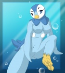 anthro avian bird blue_eyes blue_fur breasts claws digital_media_(artwork) eyelashes feathers featureless_breasts female fur long_eyelashes looking_at_viewer nintendo nude piplup pokémon simple_background smile solo underwater video_games water wings yiffmasters