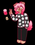 alpha_channel anthro canine chibi clothed clothing fully_clothed mammal simple_background standing sweater transparent_background v_sign  Rating: Safe Score: 1 User: CaptainCassidy Date: April 03, 2016