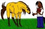ambiguous_gender anthro balls black_hair blue_pants brown_eyes brown_fur brown_hair confusion dreamworks duo equine feral fully_sheathed fur grass hair hooves horse horselover4000 hozzie_hozzbourne male mammal mane pen sheath simple_background spirit:_stallion_of_the_cimarron spirit_(cimarron) white_shirt yellow_fur  Rating: Questionable Score: 2 User: HozzieHozzbourne Date: December 13, 2014
