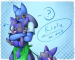 ? ambiguous_gender anthro anthrofied black_eyes black_fur blue_fur blush canine clothing day-t fur hug jackal looking_at_viewer lucario mammal nintendo pokémon riolu solo spikes video_games   Rating: Safe  Score: 10  User: Finchmaster  Date: January 23, 2014