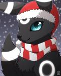 black_fur black_nose blue_eyes canine clothing cute eeveelution feral fur glowing hat hi_res looking_at_viewer male mammal nintendo pokémon pokémon_(species) scarf smile snow solo tongue tongue_out umbreon umbry_sky video_games zakuukoshirokami