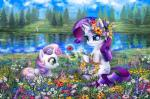 """2014 blue_eyes cloud cub cutie_mark d-ar detailed_background equine eyeshadow female feral flower friendship_is_magic fur group hair horn lake levitation magic makeup mammal multicolored_hair my_little_pony nature outside plant purple_hair rarity_(mlp) sibling sisters sitting smile sweetie_belle_(mlp) tree two_tone_hair unicorn white_fur young  Rating: Safe Score: 22 User: lemongrab Date: September 02, 2014"""""""