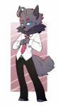2015 abstract_background anthro anthrofied black_nose blue_eyes canine caninelove clothing fox fur grey_fur male mammal necktie nintendo pants pokémon shirt solo tongue tongue_out video_games zeph_boone zorua  Rating: Safe Score: 4 User: Zeph-Boone Date: June 08, 2015""
