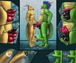 anthro balls blue_eyes blue_hair bulge chubby clothed clothing cock_tongue comic dragon duo erection erection_under_clothes hair half-dressed horn humanoid_penis lizard male male/male messy motaro_(artist) multi_penis penis penis_everywhere penis_outline precum reptile scalie sheath simple_background standing tail_cock thong topless underwear what  Rating: Explicit Score: 6 User: Motaro Date: June 12, 2014