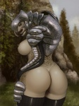 2015 alien anthro arbiter armor breasts butt crossgender da_polar_inc female halo_(series) looking_back nature nipples outside rear_view sangheili side_boob solo video_games  Rating: Questionable Score: 97 User: Bobcat Date: December 24, 2015