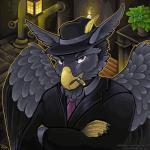 1:1 aven avian blacktalon_(character) boss cigar gryffe gryphon hi_res mafia mob mobster mythological_avian mythology smoking tacoma