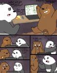 bear black_fur brown_fur comic computer dating_profile dialogue duo food fur graft_(artist) grizzly_(character) internet male male/male mammal napkin panda panda_(character) smile we_bare_bears white_fur  Rating: Safe Score: 3 User: zidanes123 Date: September 23, 2015