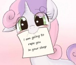 2012 blush cub cute edit english_text equine female feral friendship_is_magic fur green_eyes hair horn humor mammal mouth_hold multicolored_hair my_little_pony note pink_hair purple_hair sign smile solo sweetie_belle_(mlp) text the_whitest_kids_you_know two_tone_hair unicorn white_fur young yubi  Rating: Questionable Score: 57 User: Sods Date: June 22, 2013""