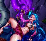 2016 absurd_res areola blue_hair bra breasts claws clothed clothing fangs female fingerless_gloves gloves hair hi_res human jinx_(lol) league_of_legends licking long_hair mammal monster navel nipples orange_eyes pink_eyes pointy_ears purple_hair saliva shorts signhereplease spikes teeth thick_thighs tongue tongue_out underwear video_games yellow_eyes  Rating: Safe Score: 1 User: Fur_in_the_dark Date: July 30, 2016