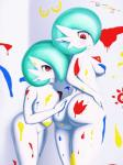 big_breasts big_butt blue_hair blush bodypaint breasts butt duo female female/female gardevoir hair hand_on_butt hand_on_hip hi_res huge_breasts looking_back nintendo nipples nude paint pokémon red_eyes shiny_pokémon signature simple_background sirredbenjamin smile video_games  Rating: Questionable Score: 8 User: ROTHY Date: January 23, 2016